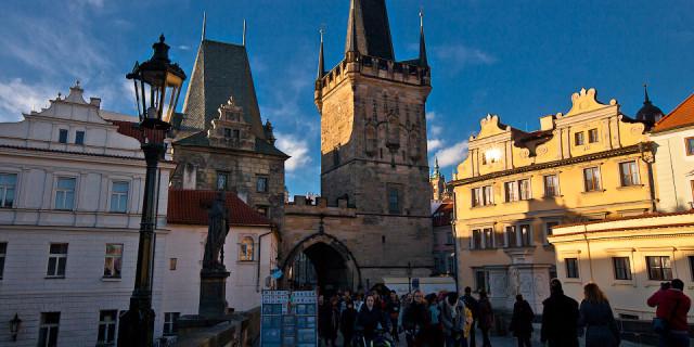 Карлов мост и немного Праги с Петршинской башни. Прага. Чехия
